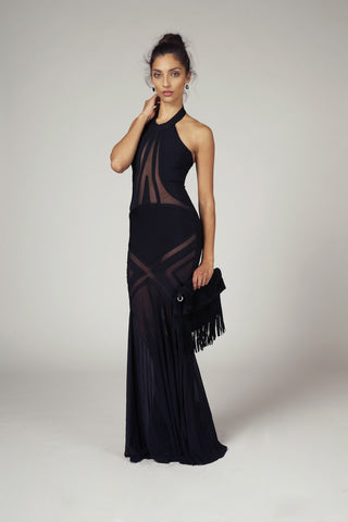 Taylor, Black Bandage And Sheer Mesh Mermaid Gown