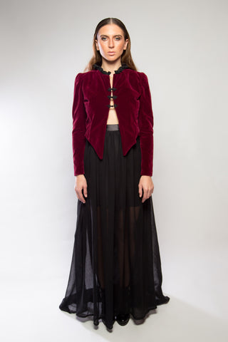 Velvet Cropped Jacket, Burgundy