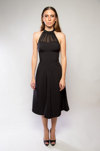 Chiffon Halter Dress, Black