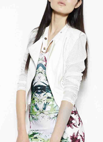 White Mesh Sleeve Jacket