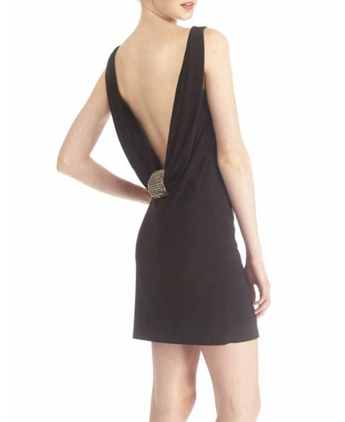 Black Mini Cocktail Dress, Exposed Back With Embellished Diamond Detail