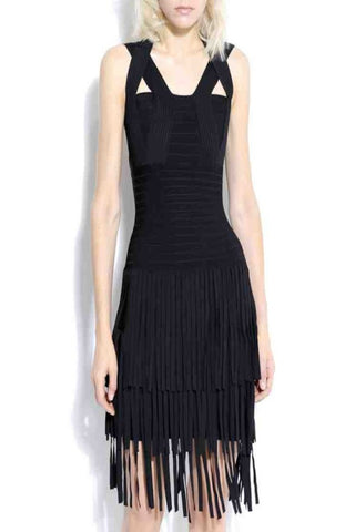 Sleek Fringe Bandage Dress, Black