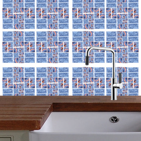 Kitchen Mosaic Tile Decal Mashup: Blue