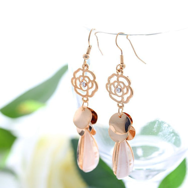 Simple Rose Hanging Earrings