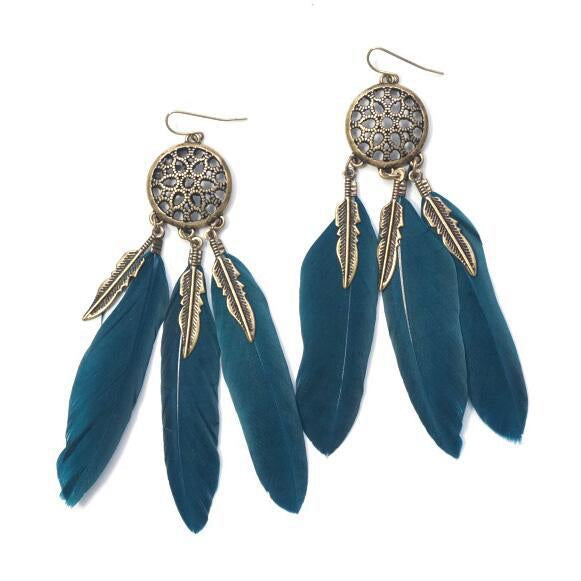 Dream Catcher Vintage Feather Dangle Earrings