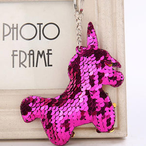 Cute Unicorn Glitter Sequins Keychain