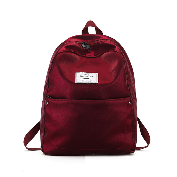 Solid Color Preppy Casual Backpack