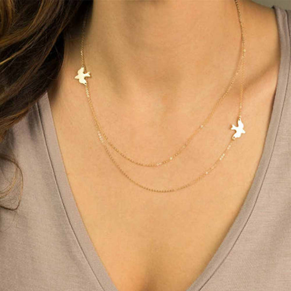 Cute Double layer Peace Pigeon Necklace