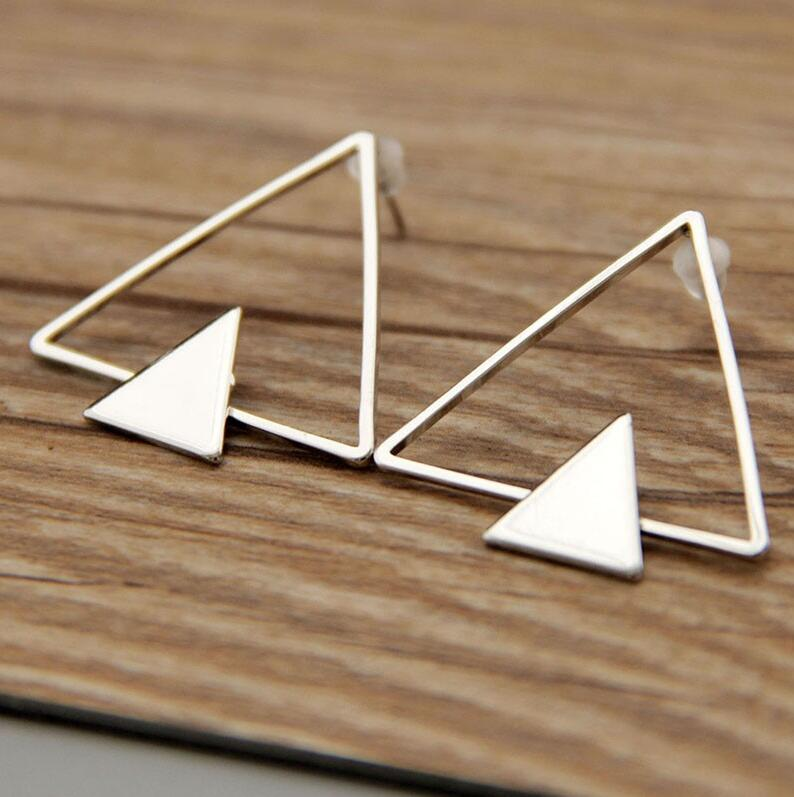 Geometric Triangle Stud Earrings