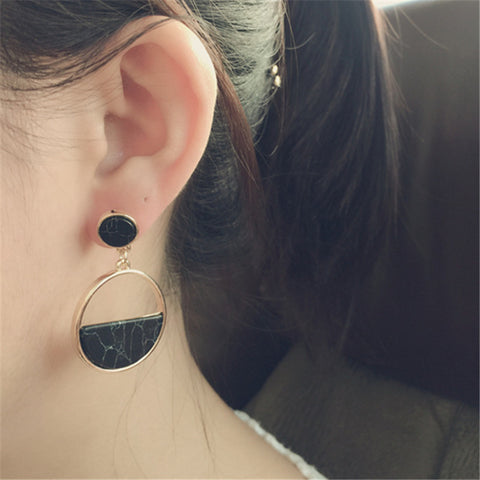 simple geometric circular marble earrings