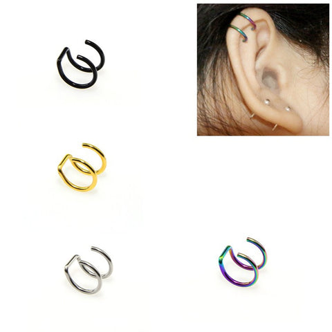 Clip On Wrap Earring 2 Rings Ear Cuff, nose ring Fake Piercing