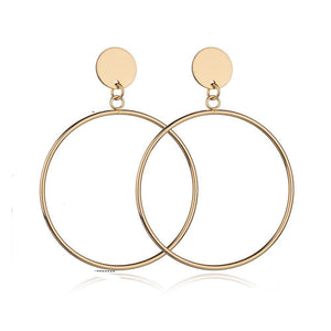 Trendy Gold Sliver Color Geometric Big Round Circle Earrings