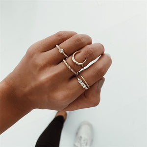 5pcs/set Crystal Midi Rings Bohemian Moon Charms Rings