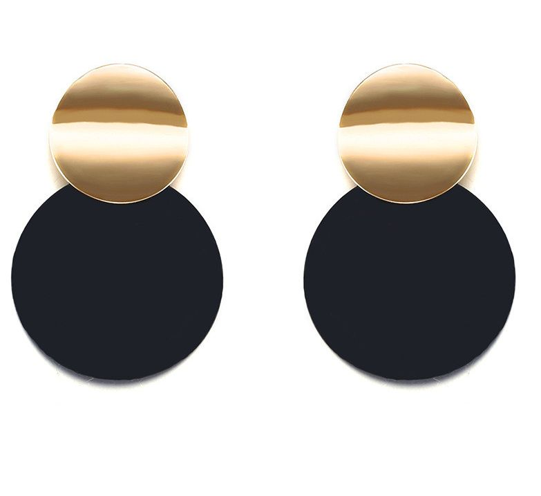 Unique Black Stud Earrings Trendy Gold Color Round Metal Statement Earrings
