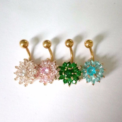 Flower Crystal Navel Bars Belly Button Ring Navel Piercing