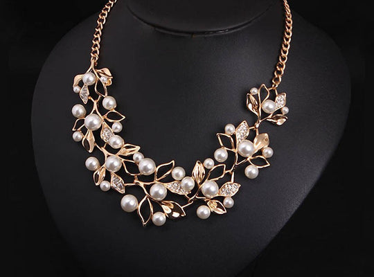 Simulated Pearl & Leaves Statement Necklace