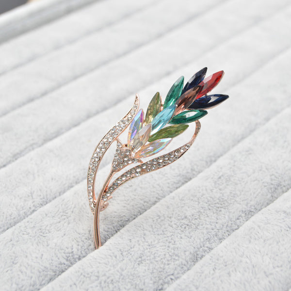Multi-color Crystal Coat Dress Corsage Flower Style Brooch