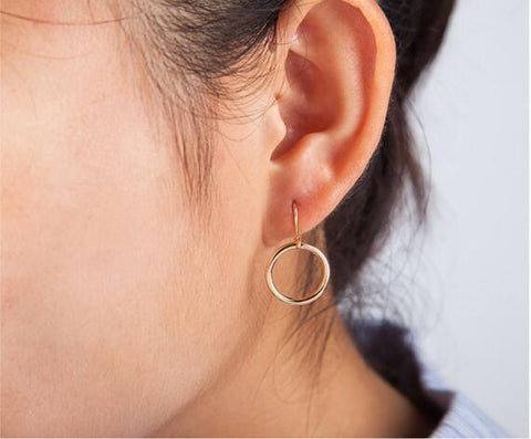 minimalist geometric hollow circle earrings