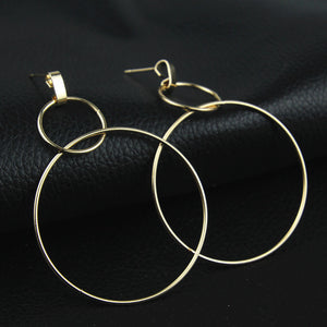 Round circle golden silver color geometric drop earrings