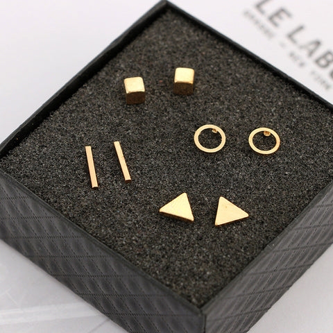 Round triangle Shaped Silver Gold Black Color Alloy Stud Earring
