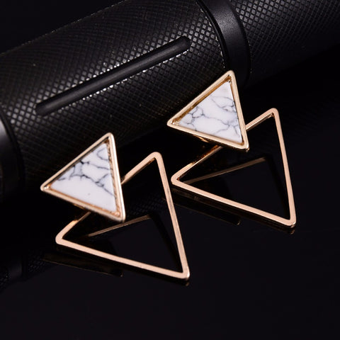 Punk Design Fashion Square Triangle Round Geometric Faux Stone Stud Earring