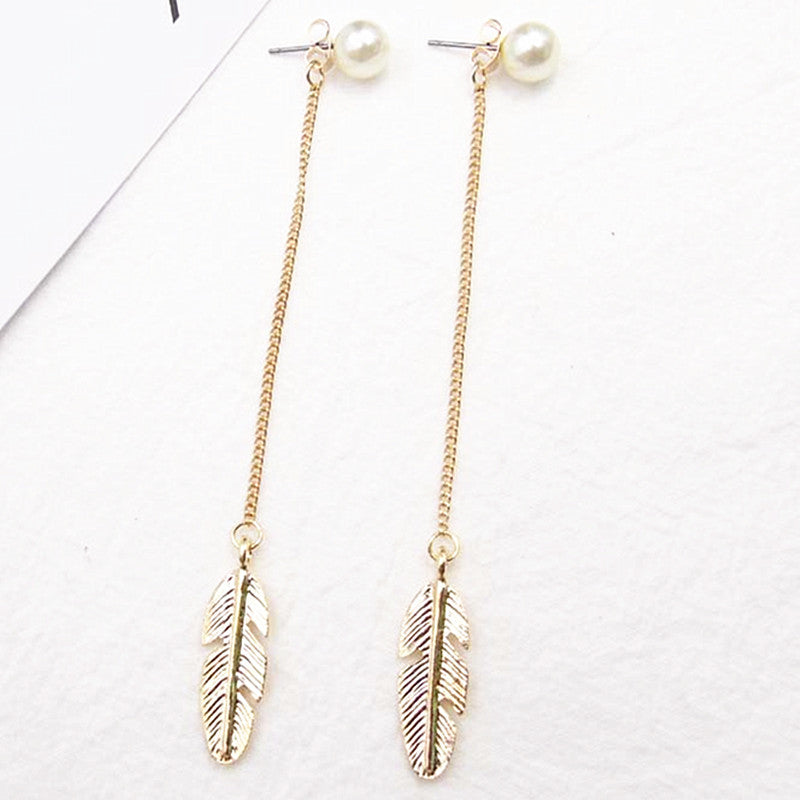 Long Leaf Feather Drop Dangle Earrings