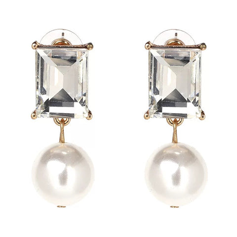 The Simple White Stone Drop Studs