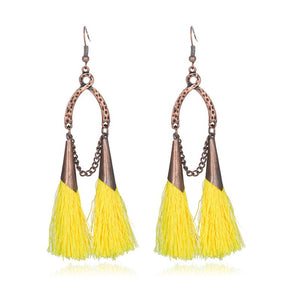 Boho ethnic tassel drop earrings