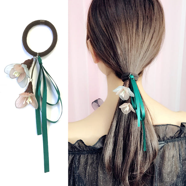 Korean Style Elastic Hair Bands - Ribbon Flower Rubber Bands