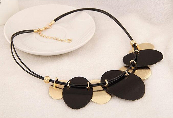 Oval Metal Sheets Pendant Statement Necklace