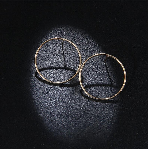 Simple Geometric Round Stud Hoop Earrings