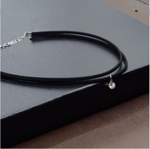 Double/Single Black Velvet Crystal Choker