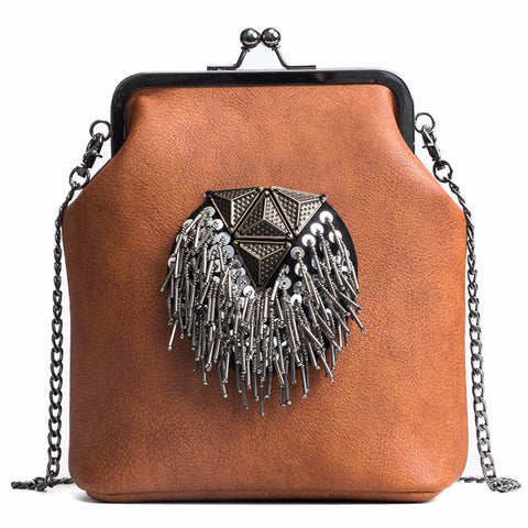 Leather Tassel Crossbody Bag