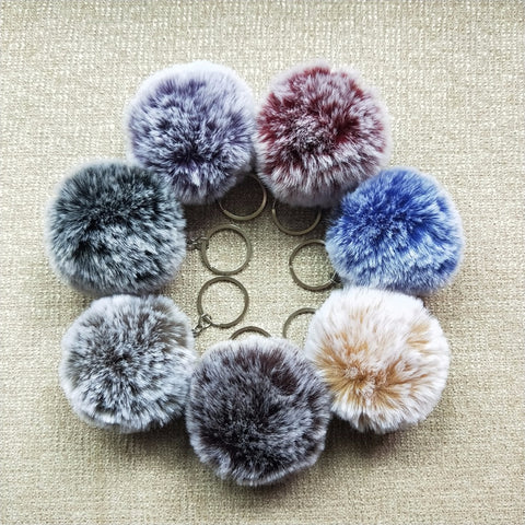 Cute Extremely Soft Fluffy Fur Ball Pom-Pom Key Chain - 24 colours available