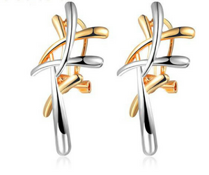Metallic Cross Statement Pendant Party Earrings