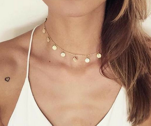 Gold Color Sequins Coins Tassel Choker