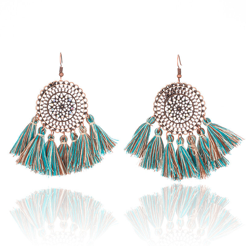 Vintage Boho Round Fringe Tassel Earrings