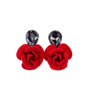 Classic Water Drops Crystal Flower Stud Earrings