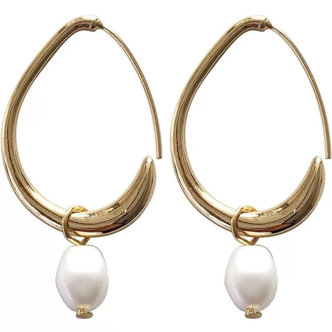 The oval pearl hoops