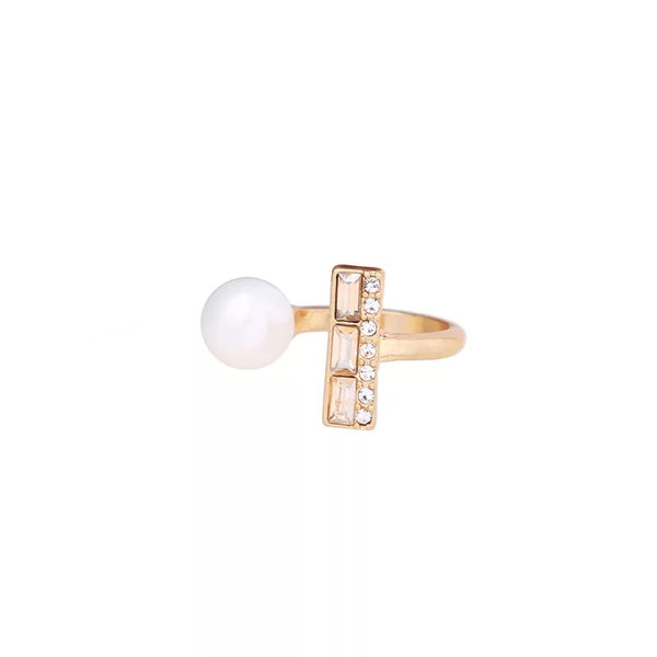 The pearl & stones cuff ring