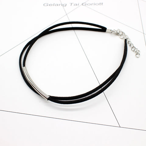 Bending tube Velvet Double layer Choker Necklace