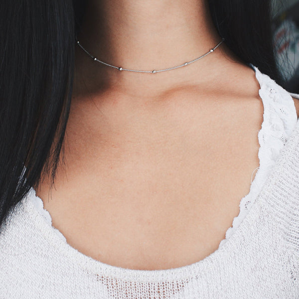 Silver Beaded Choker Necklace - Satellite Chain, Minimal Delicate