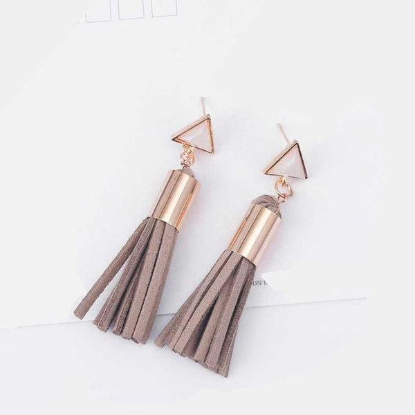Hot Vintage Triangle Tassel Faux Suede Fabric Long Dangle Earrings