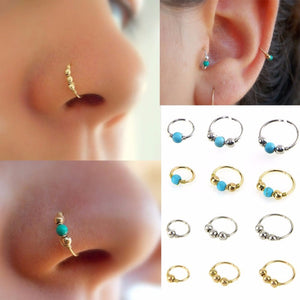 3Pcs/Set Retro Round Beads Nose Ring Nostril Hoop Body Piercing