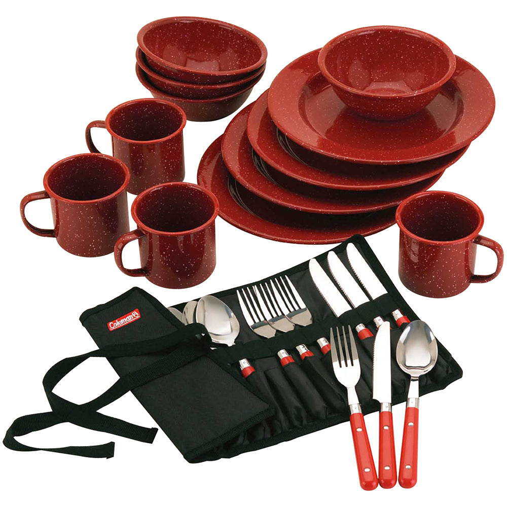 Coleman 24-Piece Speckled Enamelware Cook Set - Red [2000016407]