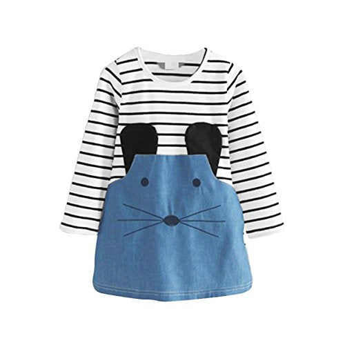 Baby Girl Long Sleeve Stripe Cartoon Mouse Cotton Denim Dress