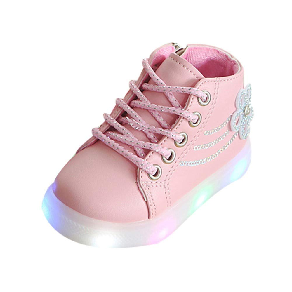 Kids Cute Zip Crystal LED Light up Luminous Sneakers