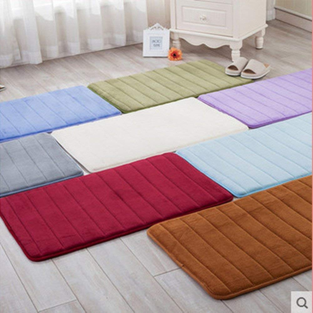 LiGG Bathroom Mat Non Slip Bath Mat Memory Foam Bathroom Carpet, Microfiber, Rectangle, Absorbent, Easy to clean, Grey, 60 x 90 cm