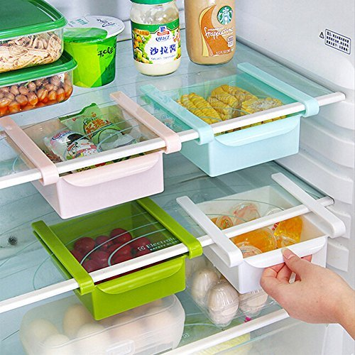 HapiLeap Plastic Kitchen Refrigerator Fridge Storage Rack Freezer Shelf Holder Kitchen Space Saver Organization (4Pcs)