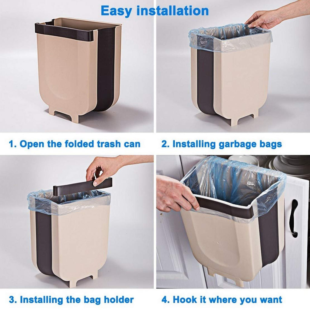 Hanging Trash Can Folded for Kitchen Cabinet Door, Collapsible Trash Bin Small Compact Garbage Can Attached to Cabinet Door Kitchen Drawer Bedroom Dorm Room Car - 8L (Brown)